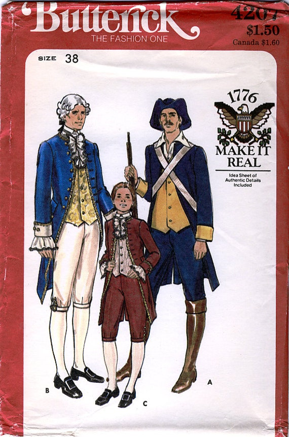 Butterick 4207 Men's Military and Statesman Costumes Sewing Pattern - Uncut - Chest Size 38