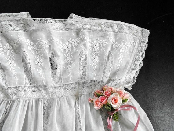 THIS ITEM RESERVED Vintage French Child's Dress Exquisite and Entirely Handmade Rare Larger Size for Flower Girl