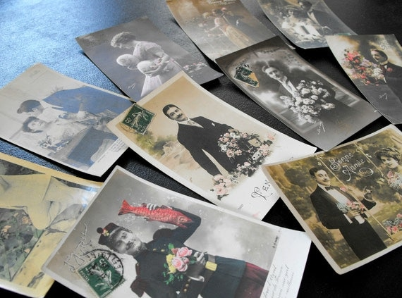 Vintage French Post Cards  Group of 10  Ephemera 1910-1920 Not Reprints