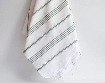 Shipping with FedEx - Turkish BATH Towel - Classic Peshtemal - White (green striped)