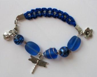 CLEARANCE SALE - Dainty blue crochet bracelet