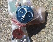 Handmade Seaglass Angel Ornament - Peace