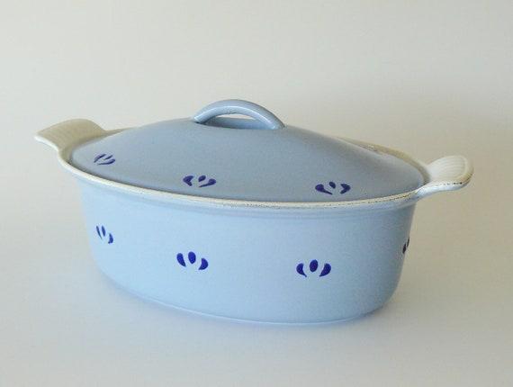 Vintage Descoware Blue Lidded Oval Casserole Dish Made in Belgium