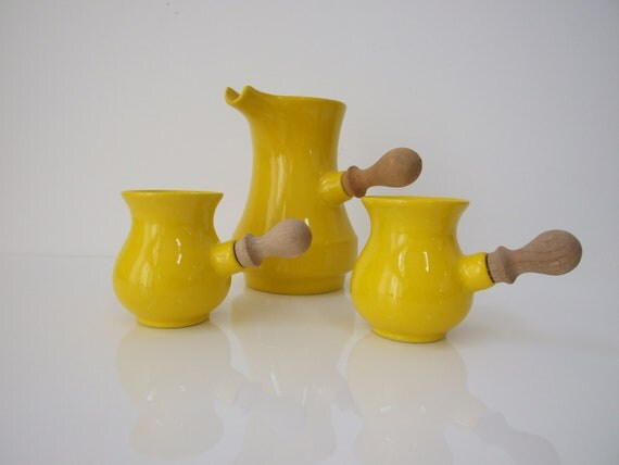 Vintage Mid Century Yellow Ceramic Coffee Pitcher and Mugs with Wood Handles