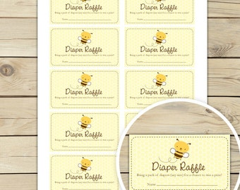 Bumble Bee Baby Shower Diaper Raffle Tickets  - Mom to Bee Baby Shower Raffle Cards  Instant Download - Yellow Baby Shower Invitation Insert