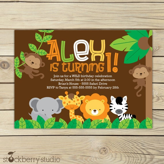 Safari Jungle Birthday Invitation Printable Jungle Animals