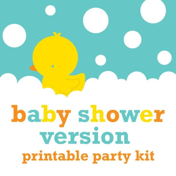 Rubber Duck Baby Shower Decorations Instant Download