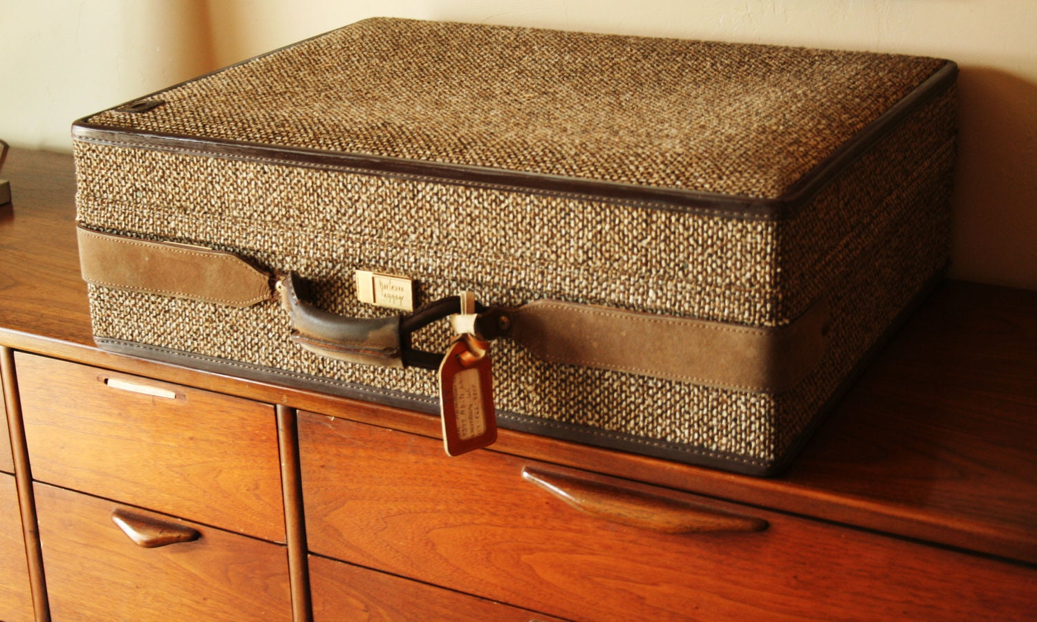 Vintage Hartmann Luggage Tweed Suitcase