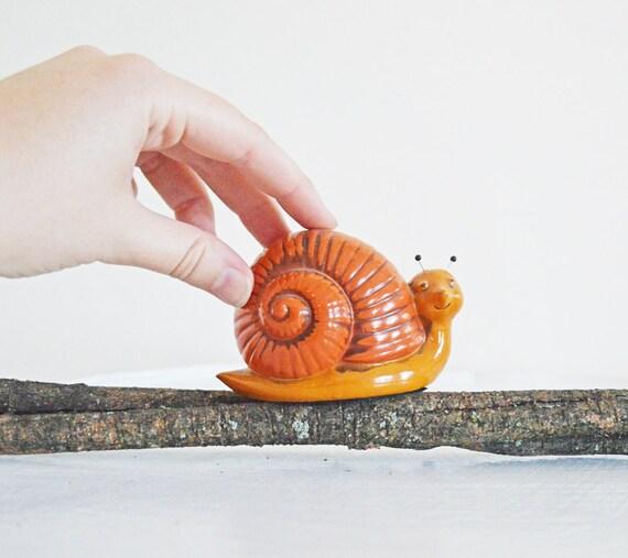 Vintage Snail Figurine Paperweight Fitz and Floyd Japan Orange Mustard Yellow Gold Black Woodland Creature Desk Buddy Office Decor