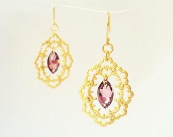 Vintage Style Earrings, Gold Lace Earrings, Frame Earrings, Powder Pink, Filigree Earrings, Romantic, Blush, Retro Wedding, Antique Gold