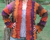 dried harvest flowers kimono sweater, upcycled clothing, cardigan, recycled, gypsy, hippie, vegan, medium, large