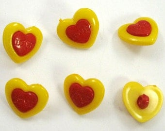 Yellow and Red Heart Buttons Set of Six