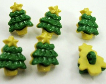 Christmas Tree Buttons Set of Six