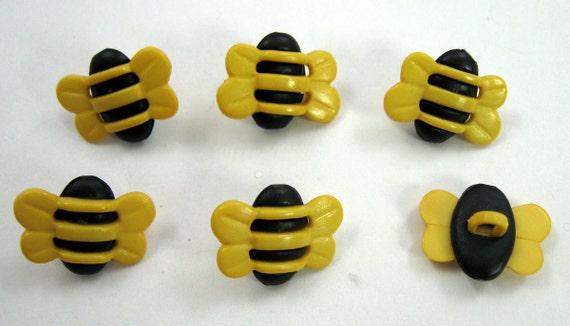 Bumble Bee Buttons Set of Six