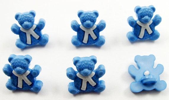 Blue Bear Buttons Set of Six