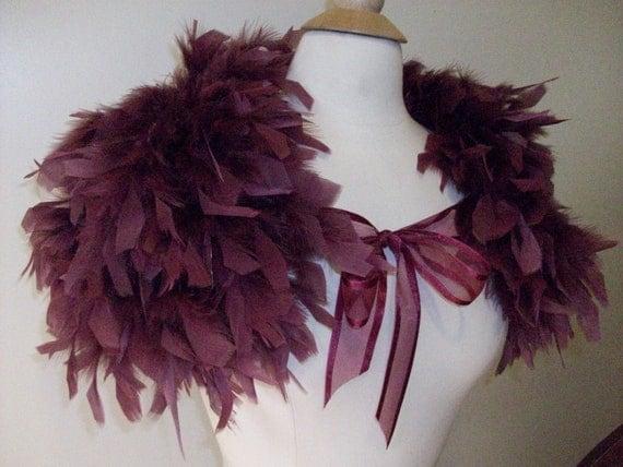 Sample Sale Merlot Chandelle Feather Cape
