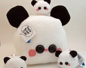Panda Sugar Cube Bear Plushie kawaii stuffed toy in white and black soft fleece