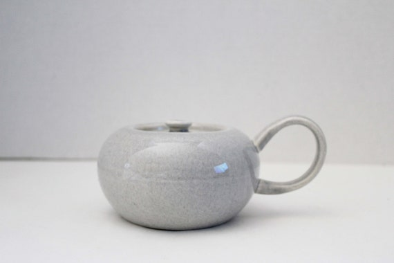 Russel Wright American Modern Granite Gray Sugar Bowl with Lid by Steubenville