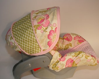 Infant Car seat Cover - Lotus Baby Girl-  with light pink minky by Baby Seat Covers By Jill Always comes with FREE strap covers