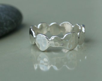 Hammered Silver Ring - Pebbles Silver Ring made of Fine silver