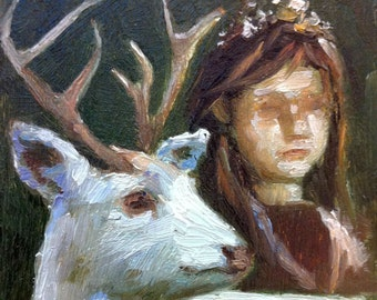 Girl with White Deer - ORIGINAL OIL PAINTING