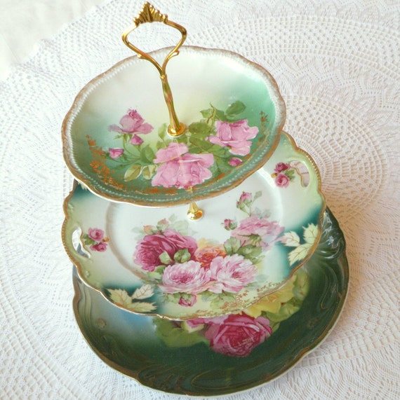 Alice & the Teal Feather, Vintage Bavarian China Cake Plate Stand, 3 Tiers for Victorian High Tea, Birthday, Wedding Cupcakes or Jewelry