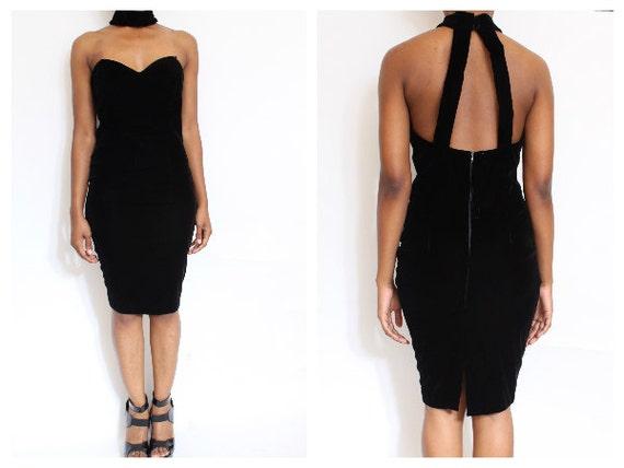 80s Velvet Bodycon Pencil Choker Dress size M