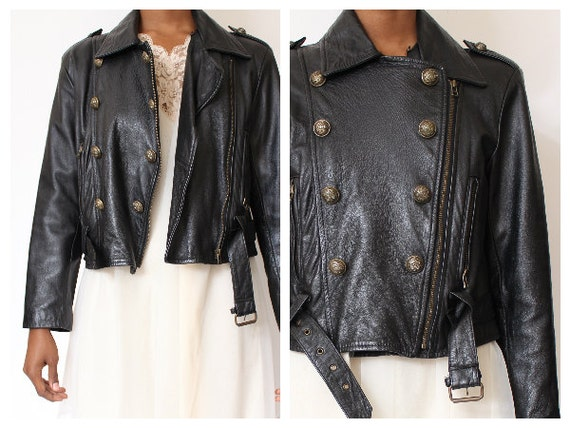 Vtg Military Style Leather Cropped Belted  Jacket  Size M