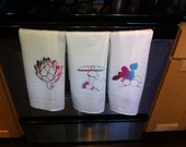 3 Veggie theamed Hand Screen Printed Flour Sack Towels - Multi Colors