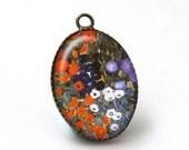 2 pcs Klimt Flower Pendant Resin Pendant Art Pendant, Klimt Farm Garden Jewelry 18x25mm Cabochon Charm  Gustav Klimt Jewelry A38-09-286