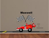 Red Race Car Wall Decal Driver racing to finish line - Race Car Driver Nursery Wall Decal Art - Checkered Flag Racing Decal - HD