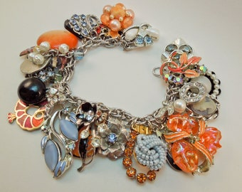 Lady Phoenix Repurposed Vintage Jewelry Charm Bracelet one of a Kind OOAK