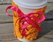 SauCY Corset style Reusable Crochet Cotton Laced Coffee Sleeve Orange Hot Pink Mango Magenta Hot Cold drink Cozy Eco Friendly