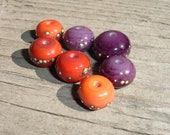 Handmade Lampwork Beads, Fine Silver Droplets on Purple and Coral Lampwork Beads, Set of 7, SRA Studio Sharon
