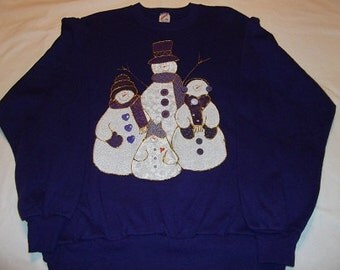 X-Large Adult Sweatshirt - Snowmen on purple