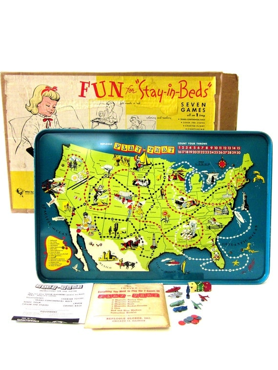Vintagae Retro 1953 Map Game Tray Table by Replogle Globes