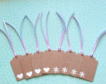 Upcycled Gift Tags - Set of 8 Chipboard Tags with Heart and Flower Cut Outs 2 3/4""