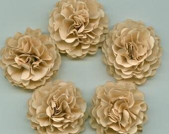 Tan Mini Carnation Paper Flowers Embellishments