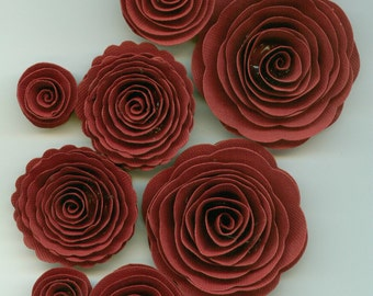 Crimson Red Rose Handmade Spiral Paper Flowers