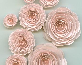 Muslin Nude Pink Spiral Paper Flowers