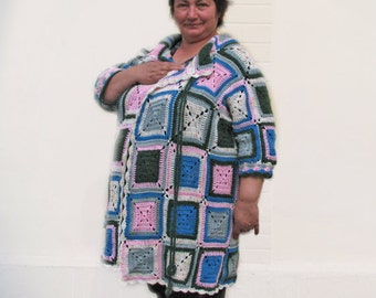 Women / Outerwear/Coats  Specialty Sizes  plus size Colorfull Crochet Sweater Cardigan plus size