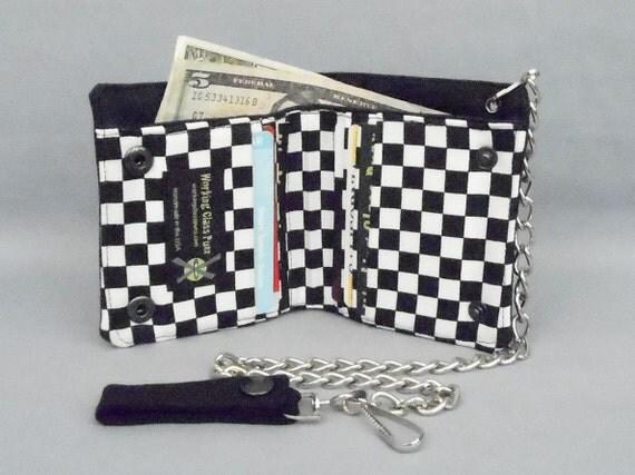 Vegan Chain Wallet Black and White Checkered