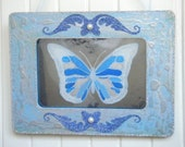 Butterfly Art Antiqued Mirror in Blue and Silver Frame