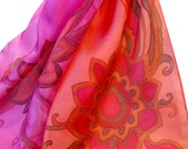 Brilliant Pink Painted Silk Scarf. Shades of Pink Silk Scarf. Long. Berry Pink, Peach Pink, Rose Bush, Magenta, Fuchsia, Coral Pink Scarf.