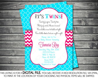 Twins Baby Shower Invitation - Turquoise, Pink, Chevron, Boy, Girl, Printable, Digital
