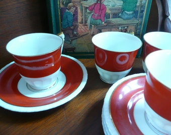Red Vintage Set of Four Cups and Saucers TK Thun Bohemia Czecoslovakia China