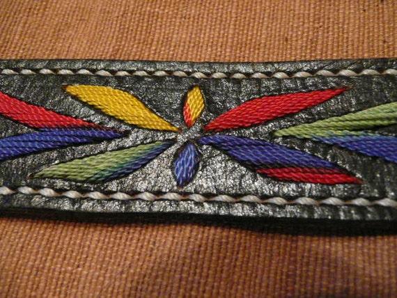 Men's Southwest Black Leather Embroidered Belt