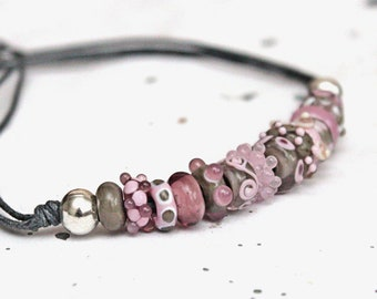 Funky lampwork necklace. Pink and grey