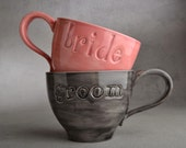 Bride Groom Coffee Mugs Made To Order Bride & Groom Stamped Coffee Soup Cocoa Mugs by Symmetrical Pottery