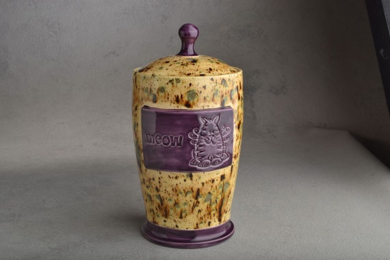 Cat Treat Jar : Stamped Cappuccino Royal Purple Cat Treat Jar by Symmetrical Pottery